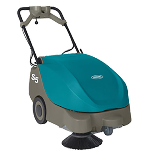 The Tennant S5 Walk-Behind Sweeper will help operators maximize productivity when it comes to getting floors clean. The S5 is compact and has a maneuverable design to allow you to get between and underneath those hard to reach areas. Use the S5 on hard or soft floor surfaces in your facility, and then use it to pick up that debris in the parking lot!